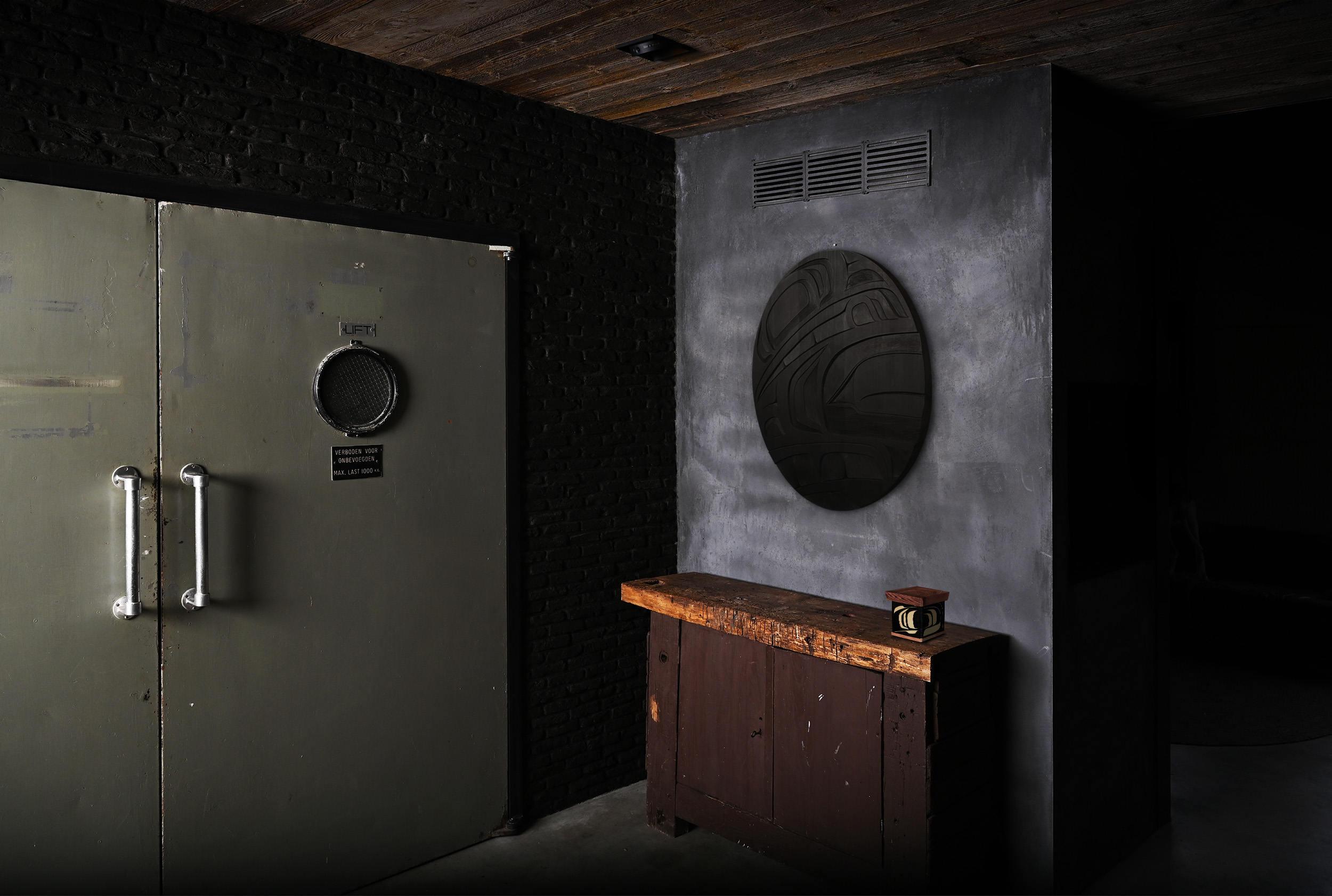Interior art advice - lift - raven panel - bentwood box copy